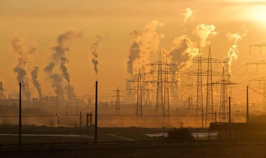 Industrial Chimneys Pumping Pollution