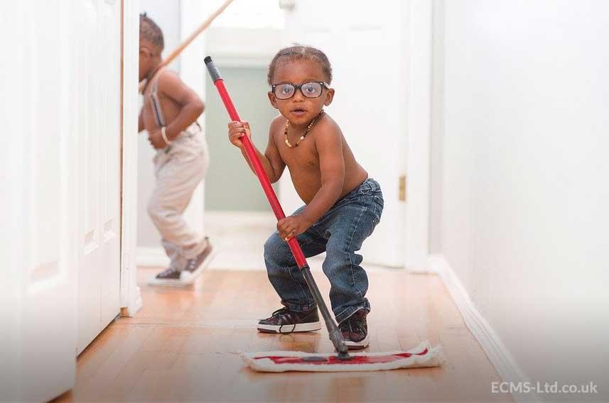 Child Mopping Floor