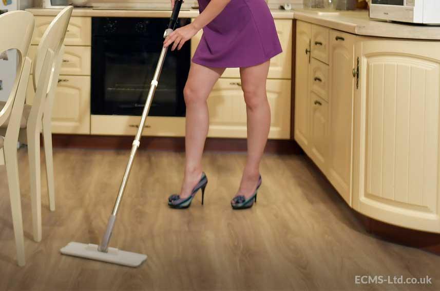 Woman Cleaning Vinyl Floor